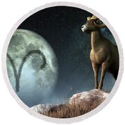 Aries Zodiac Symbol Round Beach Towel