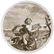 Arion Preserved By A Dolphin, 1731 Round Beach Towel