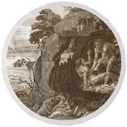 Aristeus Compels Proteus To Reveal Round Beach Towel