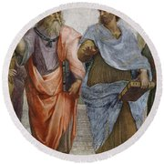 Aristotle And Plato Detail Of School Of Athens Round Beach Towel