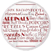 Arizona Cardinals Game Day Food 3 Round Beach Towel