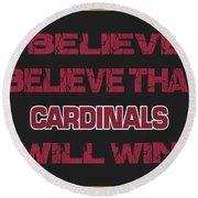 Arizona Cardinals I Believe Round Beach Towel