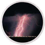 Arizona  Lightning Over City Lights Round Beach Towel