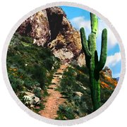 Arizona Saguaro Tonto National Monument Round Beach Towel