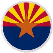 Arizona State Flag Authentic Color And Scale Version Round Beach Towel