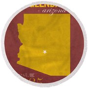 Arizona State University Sun Devils Glendale College Town State Map Poster Series No 012 Round Beach Towel