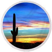 Arizona Sunset Saguaro National Park Round Beach Towel