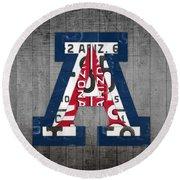 Arizona Wildcats College Sports Team Retro Vintage Recycled License Plate Art Round Beach Towel