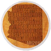 Arizona Word Art State Map On Canvas Round Beach Towel