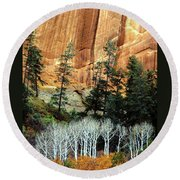 Arizona's Betatkin Aspens Round Beach Towel