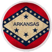 Arkansas State Flag Art On Worn Canvas Round Beach Towel by Design Turnpike