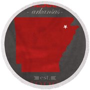 Arkansas State University Red Wolves Jonesboro College Town State Map Poster Series No 014 Round Beach Towel