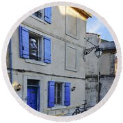 Arles With Bicycle And Moai Dsc01802   Round Beach Towel