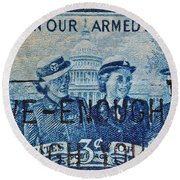 Armed Services Women Stamp Round Beach Towel