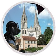 Armor And Chartres Cathedral Round Beach Towel