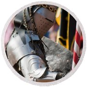 Armored Joust Knight Round Beach Towel