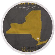 Army Black Knights West Point New York Usma College Town State Map Poster Series No 015 Round Beach Towel