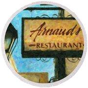 Arnauds New Orleans_oil Digital Art Round Beach Towel