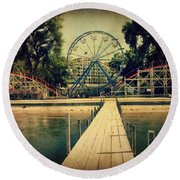 Arnolds Park Round Beach Towel