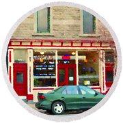 Aromate Resto Cafe Rue St Jacques St Henri  Montreal Urban Food City Scenes Carole Spandau Round Beach Towel