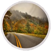 Around The Bend Clouds Along The Blue Ridge Parkway Round Beach Towel
