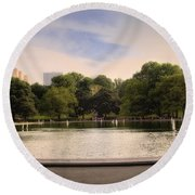Around The Central Park Pond Round Beach Towel
