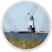 Around The Lighthouse Round Beach Towel