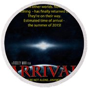 Arrival Faux Movie Poster Round Beach Towel