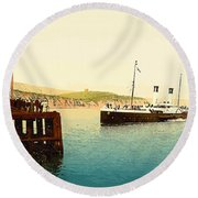 Arrival Of Boulogne Boat Folkestone - England  Round Beach Towel