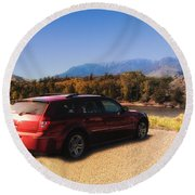 Arriving In Montana Round Beach Towel