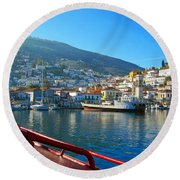 Arriving At Hydra Round Beach Towel
