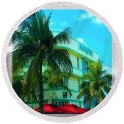 Art Deco Barbizon Hotel Miami Beach Round Beach Towel