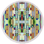 Art Deco Stained Glass 2 Round Beach Towel