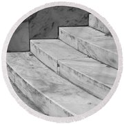 Art Deco Steps In Black And White Round Beach Towel