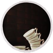 Art Deco Teacups Round Beach Towel