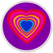 Art Heart Blue Round Beach Towel