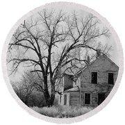 Art Homage Andrew Wyeth Abandoned 1930's Farm House Near Aberdeen South Dakota 1965-2012 Round Beach Towel