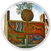 Art In A Cusco Park-peru  Round Beach Towel