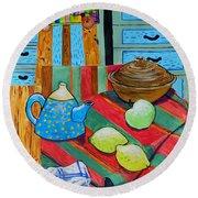 Art In The Kitchen Round Beach Towel