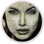 Art In The News 44- Angelina Jolie Round Beach Towel