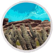 Art No 1901 American Landscape Cactus Stone Mountains And Skyview By Navinjoshi Artist Toronto Canad Round Beach Towel