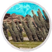 Art No.1900 American Landscape Cactus Stone Mountains And Skyview By Navinjoshi Artist Toronto Canad Round Beach Towel