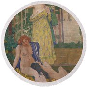 Art Nouveau Painting In The Mayors Round Beach Towel