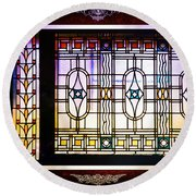 Art-nouveau Stained Glass Window Round Beach Towel