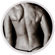 Art Of A Woman's Back Muscles  Round Beach Towel
