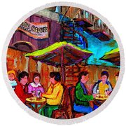 Art Of Montreal Enjoying A Pint At Ye Olde Orchard Irish Pub And Grill Monkland Village Cafe Scenes Round Beach Towel