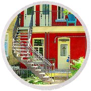 Art Of Montreal Upstairs Porch With Summer Chair Red Triplex In Verdun City Scene C Spandau Round Beach Towel