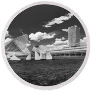 Art Over A Field Of Grey Round Beach Towel