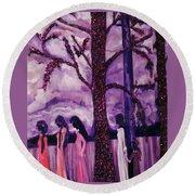 Art Purple Rain Round Beach Towel