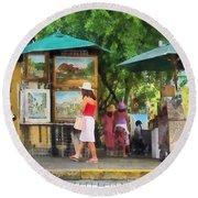 Art Show In San Juan Round Beach Towel